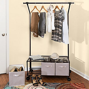 Honey-Can-Do Rolling Garment Rack with Storage Bins, , large