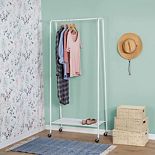 Honey-Can-Do Rolling Garment Rack with Shoe Shelf, , rollover