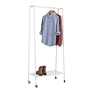 Honey-Can-Do Rolling Garment Rack with Shoe Shelf, , large
