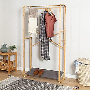 Honey-Can-Do Bamboo Garment Rack with Shoe Shelf, , rollover