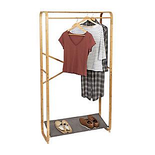Honey-Can-Do Bamboo Garment Rack with Shoe Shelf, , large