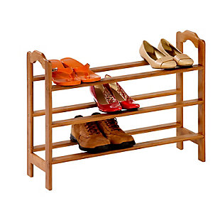 Honey-Can-Do Three Tier Bamboo Shoe Rack, , rollover