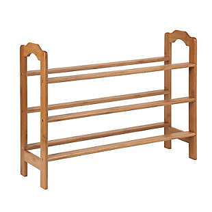 Honey-Can-Do Three Tier Bamboo Shoe Rack, , large