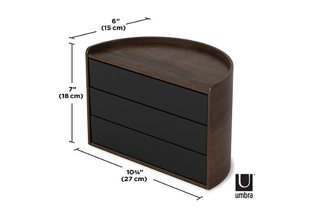 Umbra Moona Storage Box, Black Walnut, large