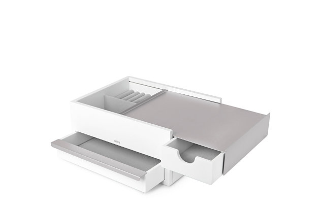 Umbra Stowit Storage Box, White Nickel, large