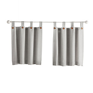"Elrene Home Fashions Tucker Solid Button Window Tier Set, 30""x24"", Gray, rollover"