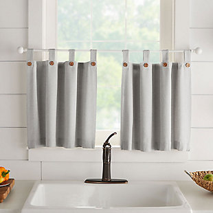 "Elrene Home Fashions Tucker Solid Button Window Tier Set, 30""x24"", Gray, large"