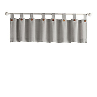 """Elrene Home Fashions Tucker Solid Button Window Kitchen Valance, 60""""x15"""", Gray, rollover"""
