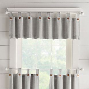 """Elrene Home Fashions Tucker Solid Button Window Kitchen Valance, 60""""x15"""", Gray, large"""