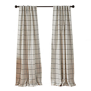 "Elrene Home Fashions Brighton Windowpane Plaid Blackout Window Curtain Panel, 52""x84"", Black, rollover"