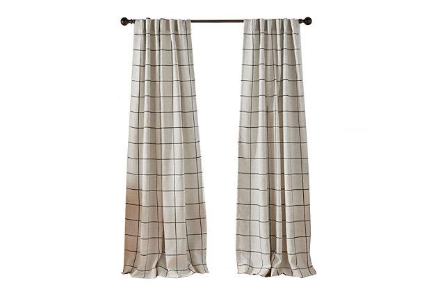 "Elrene Home Fashions Brighton Windowpane Plaid Blackout Window Curtain Panel, 52""x84"", Black, large"