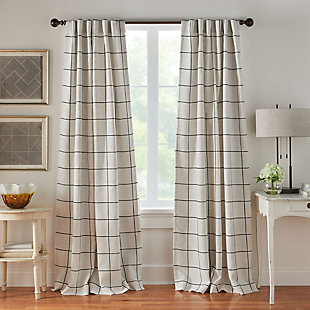 "Elrene Home Fashions Brighton Windowpane Plaid Blackout Window Curtain Panel, 52""x84"", Black, large"