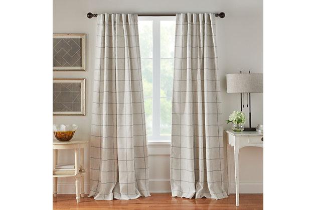 "Elrene Home Fashions Brighton Windowpane Plaid Blackout Window Curtain Panel, 52""x84"", Gray, large"