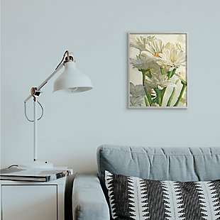 Study of White Daisy Petals Gray Frame 16x20 Wall Art, White, rollover