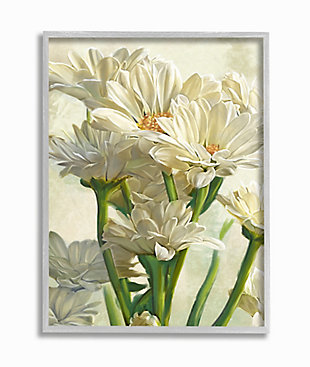 Study of White Daisy Petals Gray Frame 16x20 Wall Art, White, large