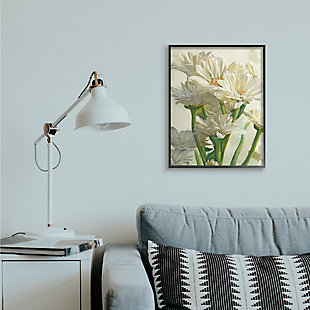 Study of White Daisy Petals Black Frame 24x30 Wall Art, White, rollover