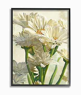 Study of White Daisy Petals Black Frame 24x30 Wall Art, White, large