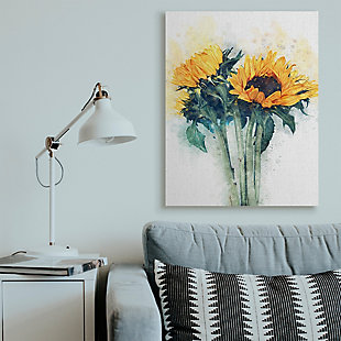 Sunflower Assortment with Watercolor 36x48 Canvas Wall Art, Multi, rollover