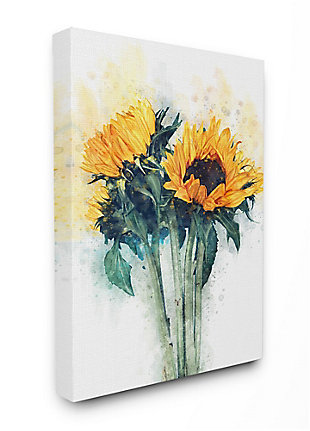 Sunflower Assortment with Watercolor 36x48 Canvas Wall Art, Multi, large