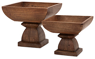 Home Accents Julian Wood Pedestal Bowls (Set of 2), , rollover
