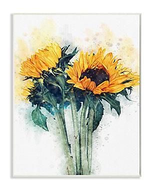Sunflower Assortment with Watercolor 13x19 Wall Plaque, Multi, large