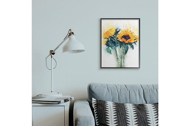 Sunflower Assortment with Watercolor 24x30 Black Frame Wall Art, Multi, large