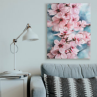 Branch Of Blooming Cherry Blossoms 36x48 Canvas Wall Art, Pink, rollover