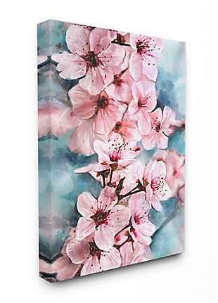 Branch Of Blooming Cherry Blossoms 36x48 Canvas Wall Art, Pink, large