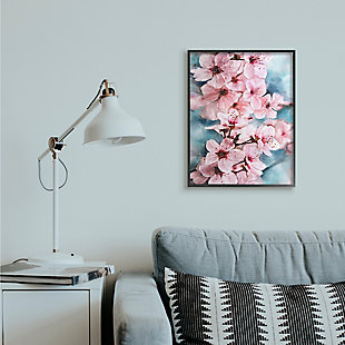 Branch of Blooming Cherry Blossoms 24x30 Black Frame Wall Art, Pink, rollover
