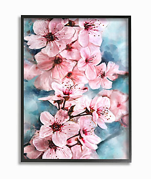 Branch of Blooming Cherry Blossoms 24x30 Black Frame Wall Art, Pink, large