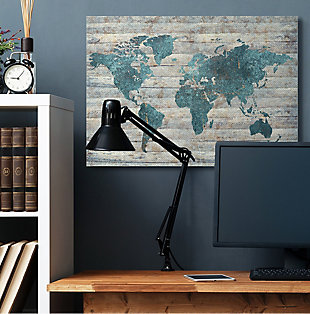 Intriguing Blue Patterned Map 36x48 Canvas Wall Art, Brown/Beige, rollover