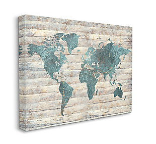 Intriguing Blue Patterned Map 36x48 Canvas Wall Art, Brown/Beige, large