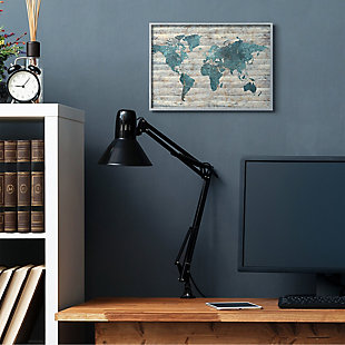 Intriguing Blue Patterned Map 16x20 Gray Frame Wall Art, Brown/Beige, rollover