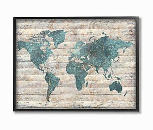 Intriguing Blue Patterned Map 24x30 Black Frame Wall Art, Brown/Beige, large