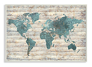Intriguing Blue Patterned Map 13x19 Wall Plaque, Brown/Beige, large