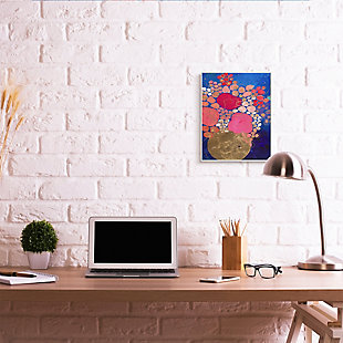 Abstract Whimsical Flower Vase 13x19 Wall Plaque, Blue, rollover