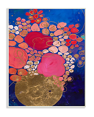Abstract Whimsical Flower Vase 13x19 Wall Plaque, Blue, large