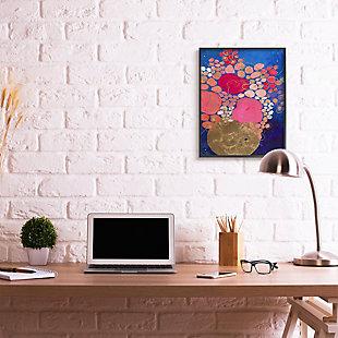 Abstract Whimsical Flower Vase 24x30 Black Frame Wall Art, Blue, rollover