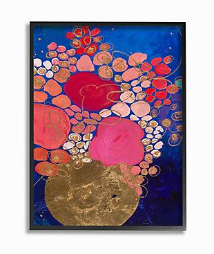 Abstract Whimsical Flower Vase 24x30 Black Frame Wall Art, Blue, large
