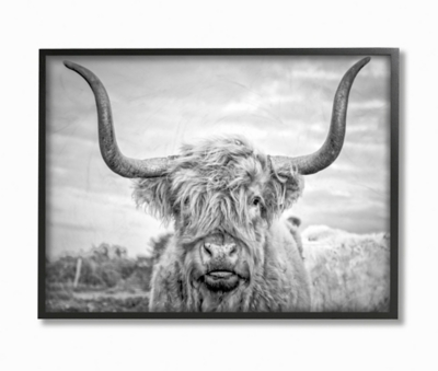 Black and White Highland Cow 24x30 Black Frame Wall Art, Multi, large