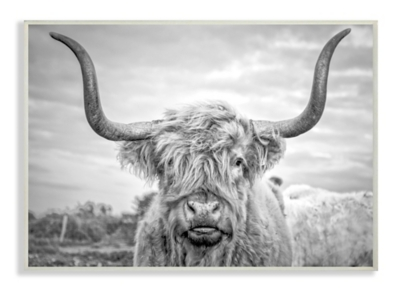 Black and White Highland Cow 13x19 Wall Plaque, Multi, large
