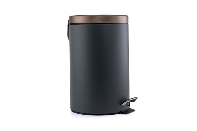 Elama Elama 12 Liter Stylish Gray and Copper Soft Pedal Office, Kitchen and Bathroom Trash Bin, , large
