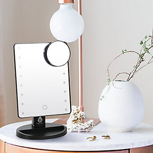 Pursonic Pursonic LED Dimmable Touch Vanity Makeup Mirror With Detachable 5X Mirror, Black, rollover