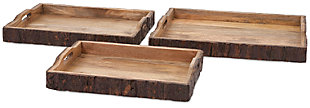 Home Accents Nakato Wood Bark Serving Trays (Set of 3), , rollover