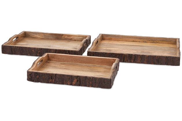 Home Accents Nakato Wood Bark Serving Trays (Set of 3), , large