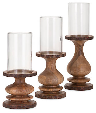 Home Accents Nakato Wood Bark Candleholders (Set of 3), , rollover