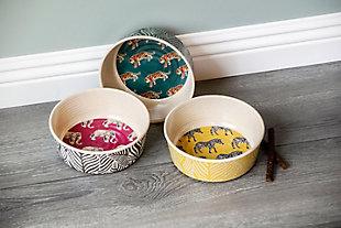 "TarHong Safari Pet Bowl, Tiger, Small, 5.3"" x 1.9""/ 1 Cup, Merge (Bamboo powder and Melamine), Set of 2, Green, rollover"