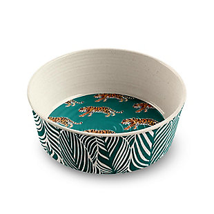 "TarHong Safari Pet Bowl, Tiger, Small, 5.3"" x 1.9""/ 1 Cup, Merge (Bamboo powder and Melamine), Set of 2, Green, large"