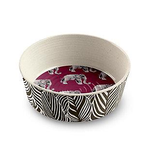 "TarHong Safari Pet Bowl, Elephant, Medium, 6.7"" x 2.3""/ 4 Cups, Merge (Bamboo powder and Melamine), Set of 2, Magenta, large"