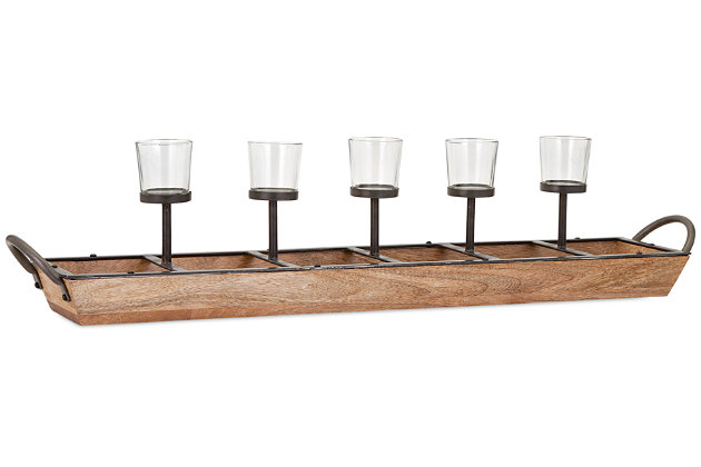 Home Accents Shay 5-Light Candleholder by Ashley HomeStore, Brown